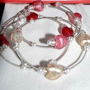 Red Envelope Murano heart silver bracelet set